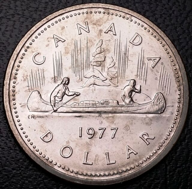 1977 Canada $1 Nickel Dollar **Attached Jewels Short Water Line Variety** Type 1