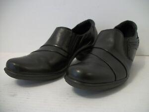 CLARKS-Bendables-Women-039-s-Black-Leather-Slip-on-Low-Heels-Pumps-US-Size-8-5-M