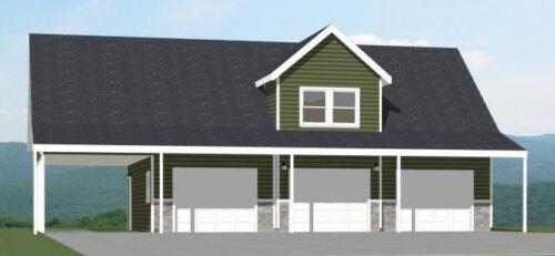 Model 9 40x30 3-Car Garage with Carport PDF Floor Plan 2,065 sqft