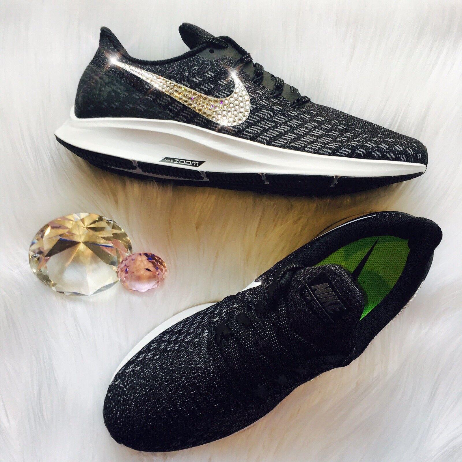 Bling Nike Air Zoom Zoom Zoom Pegasus 35 Donna  scarpe w  Swarovski Crystal Swoosh - nero 5ff38d