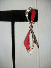 """2.25"""" silver red enamel crystal clip on earrings non pierced basketball wives"""