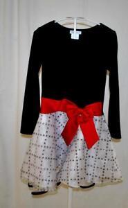 Bonnie Jean Girl's Christmas Holiday Velvet Satin Skaters Fancy Party Dress Sz 8
