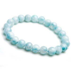 Self-Conscious Genuine Natural Blue Ice Larimar Gemstone Big Round Beads Bracelet Aaaaa 17mm Collectibles Crystals & Mineral Specimens