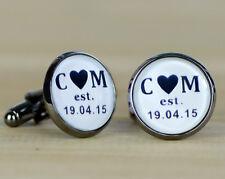 Personalized Monogram Cufflinks, Custom Wedding Cuff Links Gift Design #004