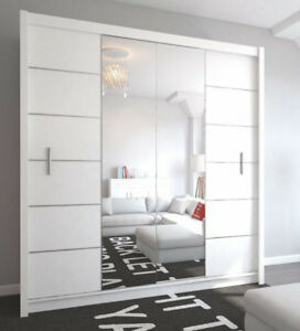 kleiderschrank lizbona ii in wei mit spiegel und schiebet ren m bel ebay. Black Bedroom Furniture Sets. Home Design Ideas