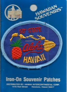 HAWAIIAN SOUVENIRS 5OTH STATE ALOHA HAWAII POST CARD IRON ON SOUVENIR PATCH