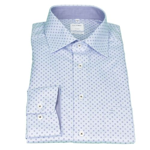 Olymp Luxor Uomo Comfort Fit Camicia Blu minimo motivo 1052 34 28