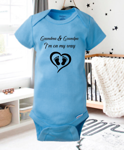 Pregnancy Announcement Onesie On My Way Grandparents Blue Boy Gender Reveal