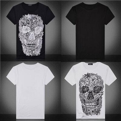 Fashion Mens Cool 3D Skull Printing Tees Shirt Short Sleeve T-Shirt Blouse Tops