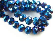 200Ps Metal Blue Crystal Glass Faceted Rondelle Bead 3mm Spacer Jewelry Findings