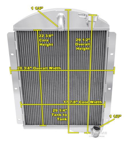 """Chevy Pickup Trucks  Custom Aluminum Fan Shroud /& 2-10/"""" Fans-22 3//8/""""H x 17 7//8/""""W"""