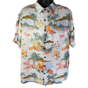Route-66-Mens-Hawaiian-Shirt-Palm-Trees-Ships-Floral-Rayon-L
