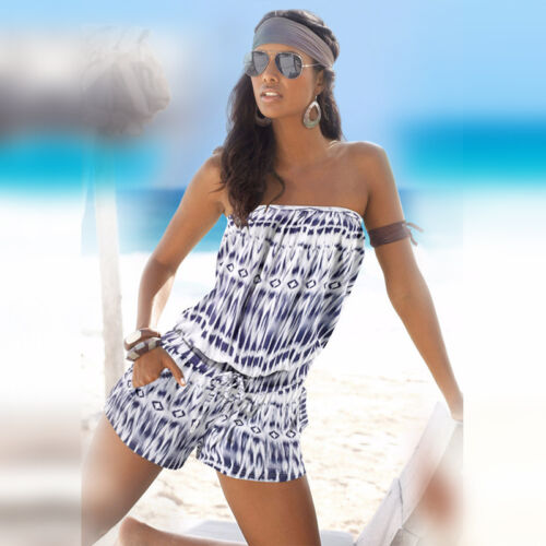 Women Holiday Mini Playsuit Ladies Summer Jumpsuit Rompers Casual Beach Dresses