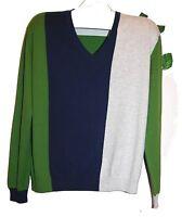 Daniele Fiesoli Italia Green Navy Gray Sweater Long Sleeve Mens Size 2xl