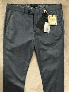 Ted-Baker-dunkelblau-034-Edel-034-Classic-Fit-Hose-Hosen-Chinos-34r-NEW-tags