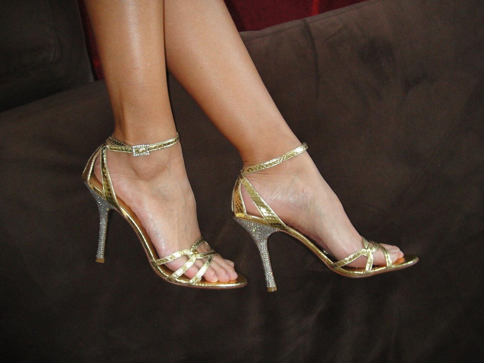 Bebe Gold Snakeskin Silver Rhinestone Crystal Heel Sandales Schuhes 9 9.5 275 Prom