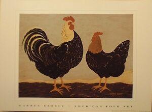 art-print-DOUBLE-ROOSTERS-Warren-Kimble-bird-chicken-farm-animal-folk-16x12