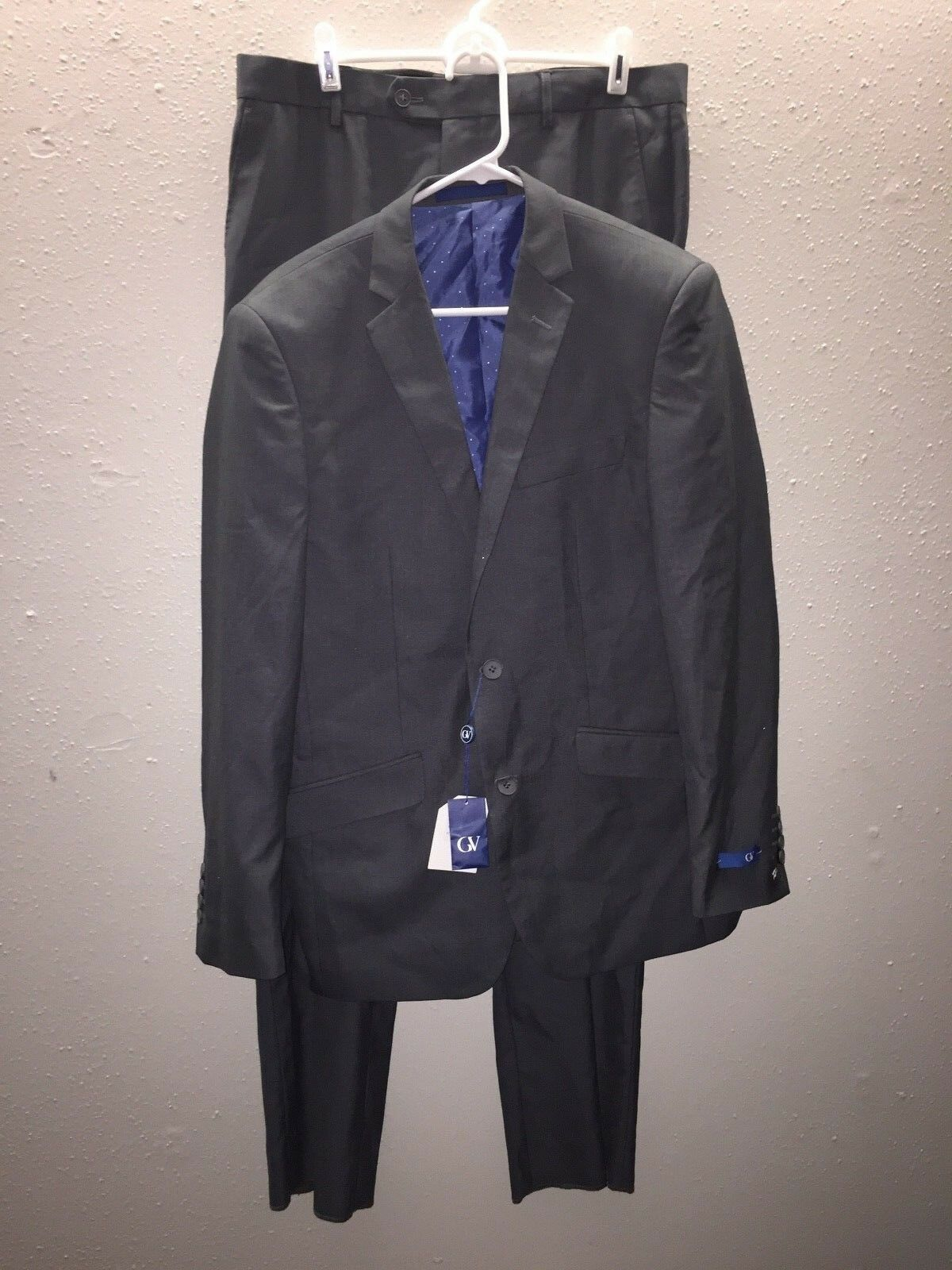 Gino Vitale 2pcs Slim Solid Charcoal Two Button Tuxedo Suit - 40R/34W