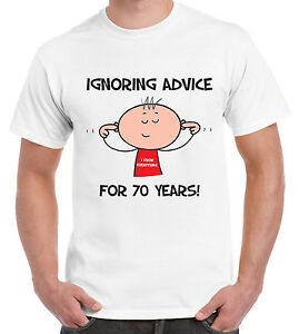 Dettagli Su Ignorando Consigli Per 70 Anni 70th Compleanno T Shirt Da Uomo Regalo Divertente Mostra Il Titolo Originale