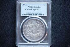 Scarce China Empire dragon Dollar 1911 Year 3 Y-31, LM-37 PCGS Genuine