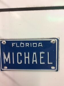 FLORIDA MINI LICENSE PLATES FOR BIKES, STROLLERS (DOGGYS TOO) OVER 1200 NAMES