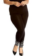 New Womens Plus Size Leggings Laser Cut Sequin Full Length Elastic Waist Cutout