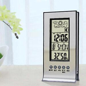 Uhr-Digital-LCD-Thermometer-Innen-Hygrometer-Luftfeuchtigkeit-Messgeraet-DED