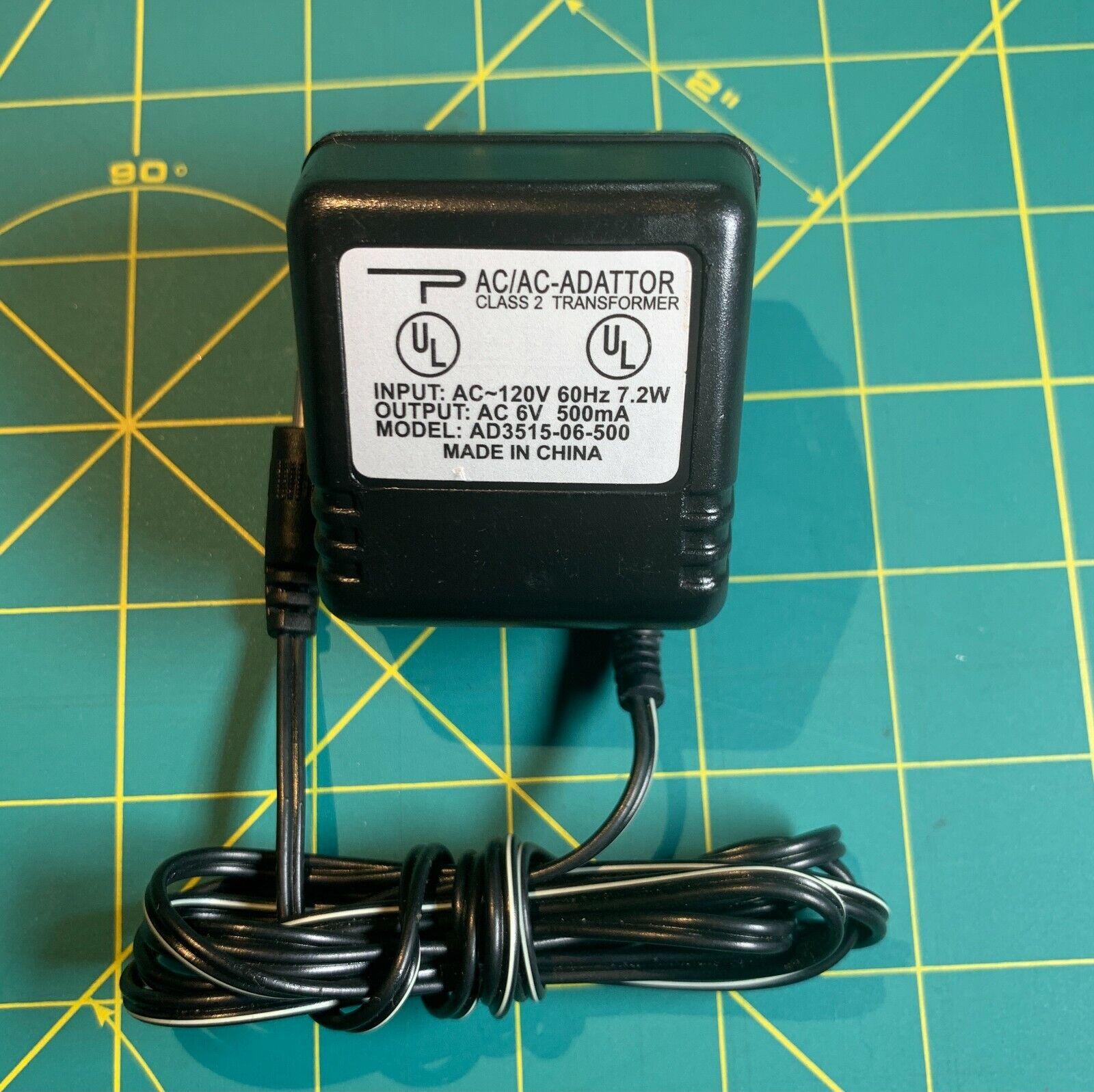 AC/AC Adapter AD3515-06-500 Power Supply Adaptor 6V ~ 500mA Class 2 Transformer