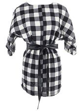 Women's S/M Fit Black and White Checkered Print Dolman Sleeves Obi Belt Dress