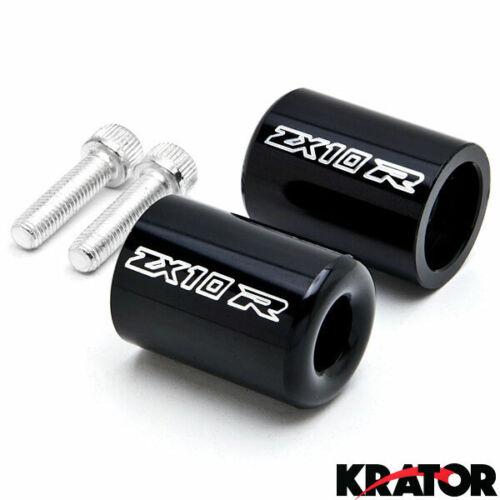 Black Bar Ends ZX10R Logo Hand Grips Handlebar For 2003-2006 Kawasaki Z1000