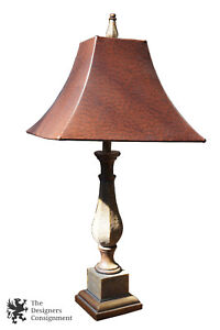 Details about Faux Stone Safari Trophy Style Table Lamp w Tapered Brown Ostrich Leather Shade