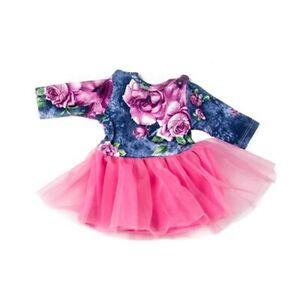 Puppen-Kleidung-Puppen-Kleid-bunt-mit-pink-Tuell-fuer-40-bis-45-cm-Puppen-Nr-199
