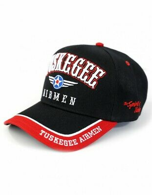 Tuskegee Airmen New Red Tails Leather Adjustable Cap Black
