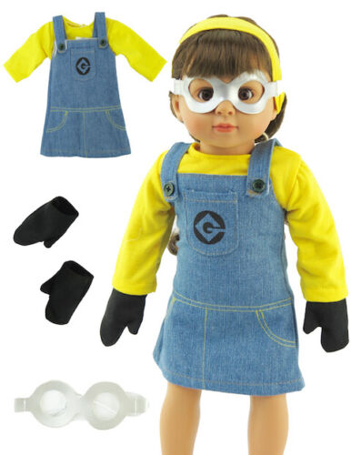 Minion Inspired Halloween Costume For 18 Inch American Girl Doll Clothes