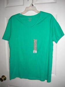 new-WOMENS-Shirt-V-Neck-Tee-jade-green-short-sleeve-s-l-xl-tagless-T20