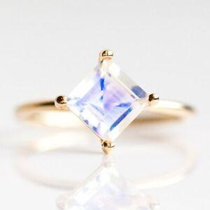 0-54-Ct-Moonstone-Square-Minimalist-Ring-Diamond-Solid-14k-Rose-Yellow-Gold-uS7