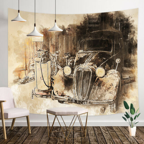 Sketch Old Car Shower Curtain Bathroom Decor Fabric /& 12hooks 71X71in