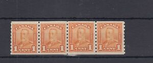 #160 coil PASTE UP strip of 4 - 1c orange Scroll Cat $200+ Canada mint