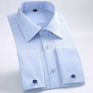 Luxury-New-Men-039-s-French-Cuff-Business-Casual-Formal-Slim-Dress-Shirt-CS386