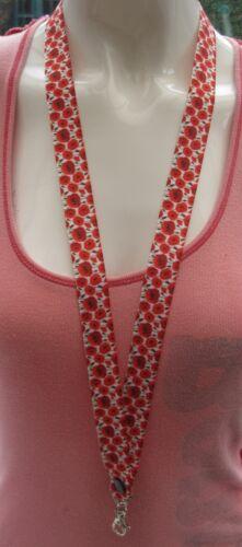 Poppy flower lanyard breakaway rose 2 sizes whistle ID badge ribbon remembrance