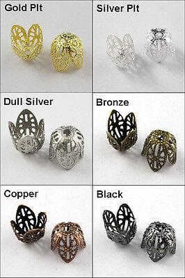 30Pcs New Filigree Cone End Bead Caps 11mm Gold Silver Bronze Copper Black etc.