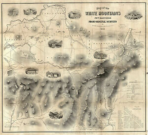 1859-Railway-Map-Of-Routes-To-The-White-Mountains-New-Hampshire-Wall-Art-Poster