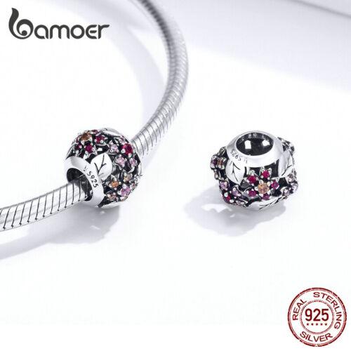 BAMOER S925 Sterling Silber DIY AAA CZ Charme Sakura Perlen für Frauen Armband