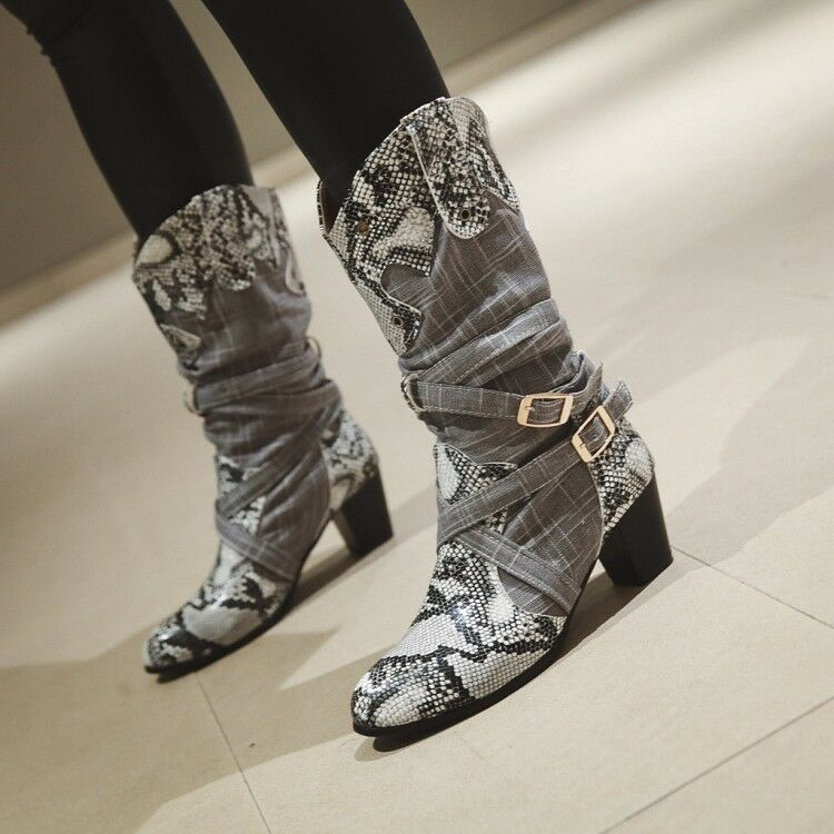 Women Gladiator Block Heels Snake Round Toe Roman Riding Mid Calf Boots Fashion