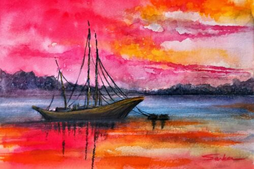 Boat in Sunset Watercolor Red Landscape Painting Poster Art Print FREE SHIPPING