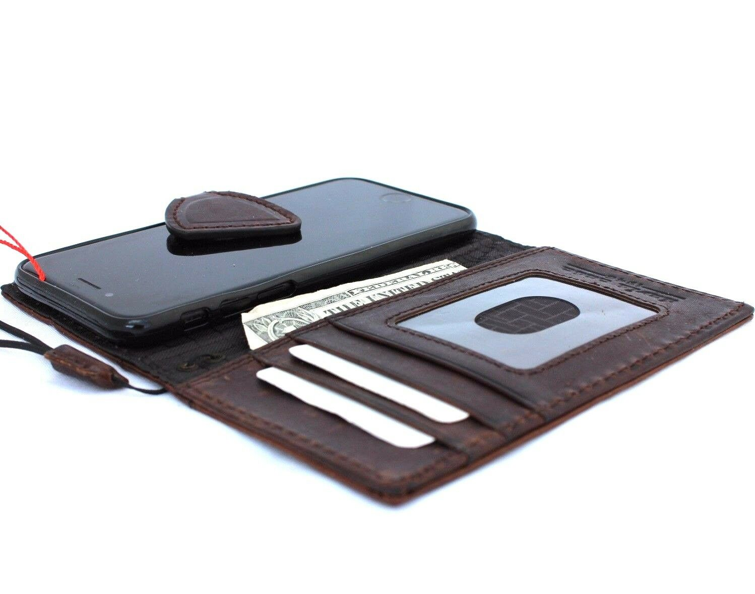 Genuine Italian Oiled Leather Slim Case For Iphone 8 Cover Book