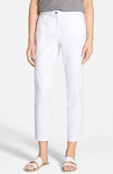 SZ S Eileen Fisher White Organic Cotton Stretch Twill Slim Ankle Pants NWT