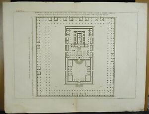 Engraving-18th-1728-Judaica-Israel-Plan-Of-Temple-Of-Jerusalem-Per-M-Prideaux