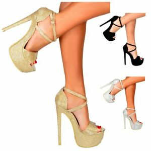9b7552b97f3a Image is loading WOMENS-STRAPPY-PLATFORM-PARTY-SHOES-HIGH-HEEL-STILETTO-