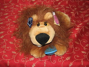 "Applause Brush Ups Plush Stuffed Animal Lion w Mane Attraction Comb New NWT 10"""